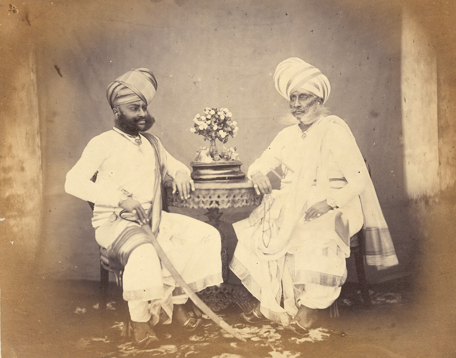 Studio portrait of two Rajputs, Bombay.
